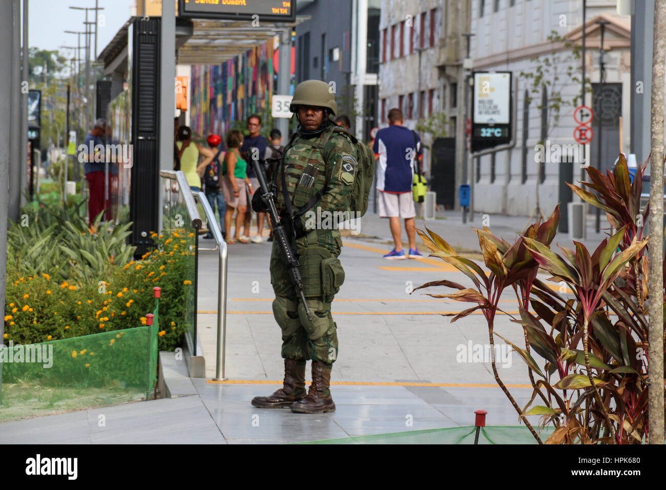 Rio de Janeiro, Brazil. 22nd Feb, 2017. The Brazilian Federal Government did not authorize thousands of military - Stock Image