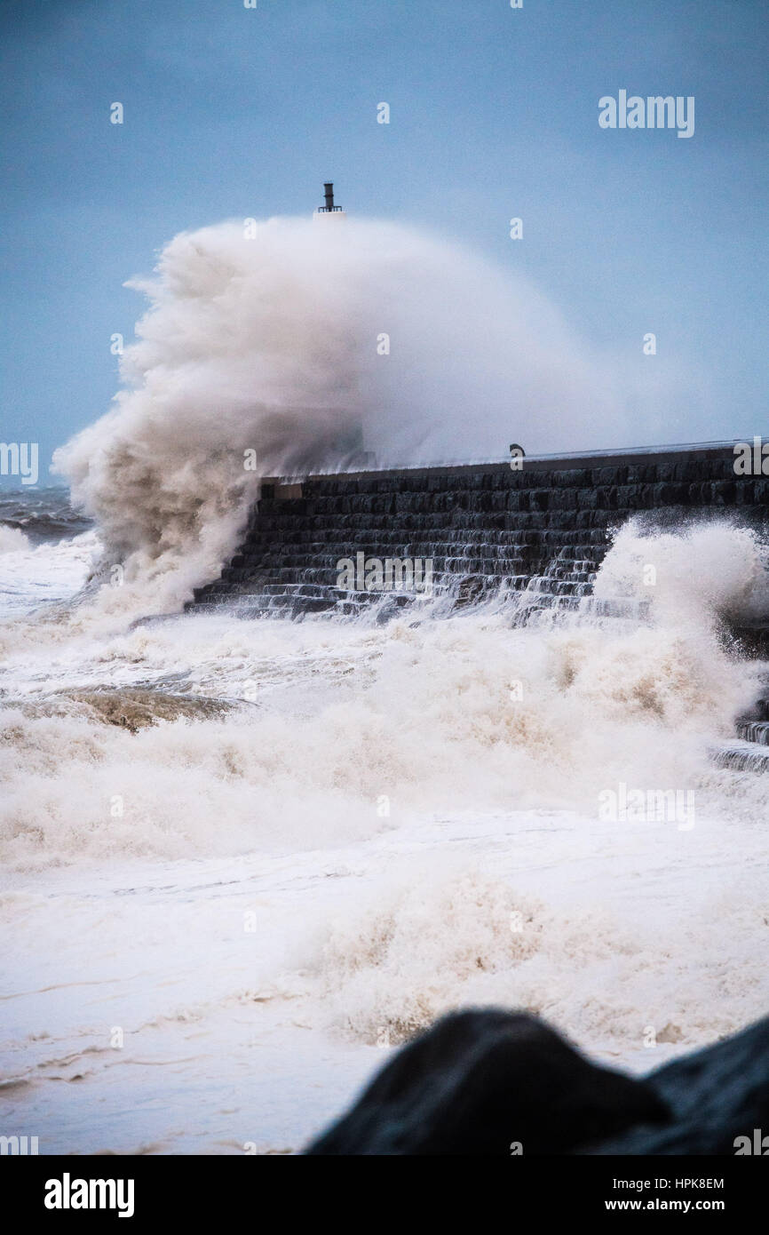 Aberystwyth, Wales, UK. 23rd Feb, 2017. UK Weather: In the early hours of Thursday morning, Storm Doris, the fourth - Stock Image