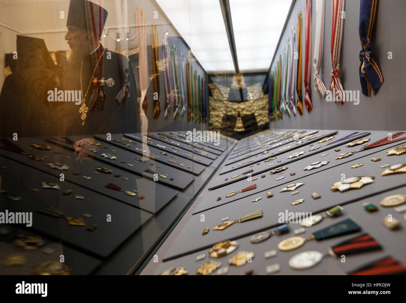 MOSCOW, RUSSIA - FEBRUARY 23, 2017: Showpieces on display at the opening of an exhibition of the Russian Orthodox - Stock Image
