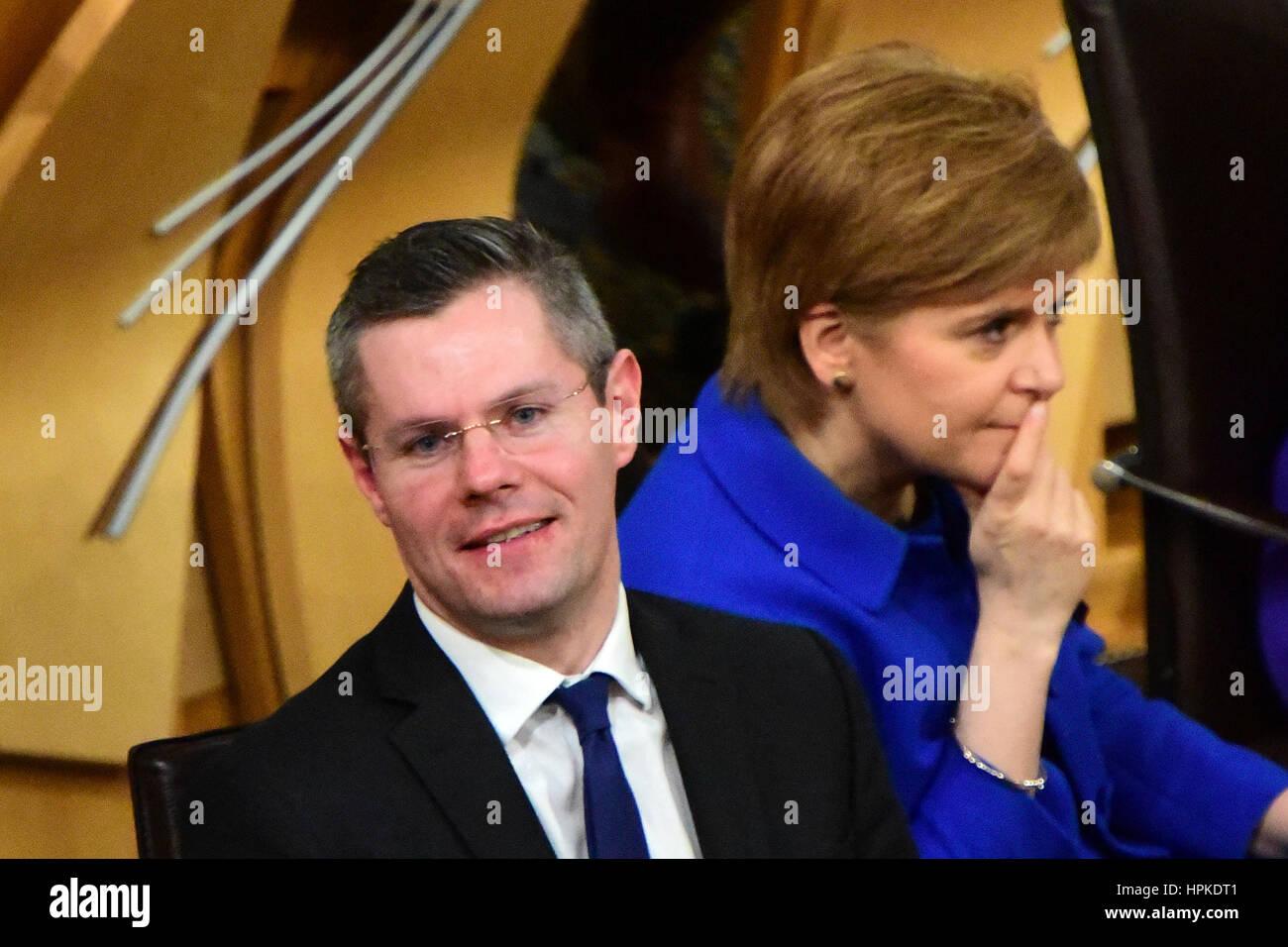 Edinburgh, Scotland, United Kingdom. 23rd February, 2017. Scottish Finance Secretary Derek Mackay and First Minister - Stock Image