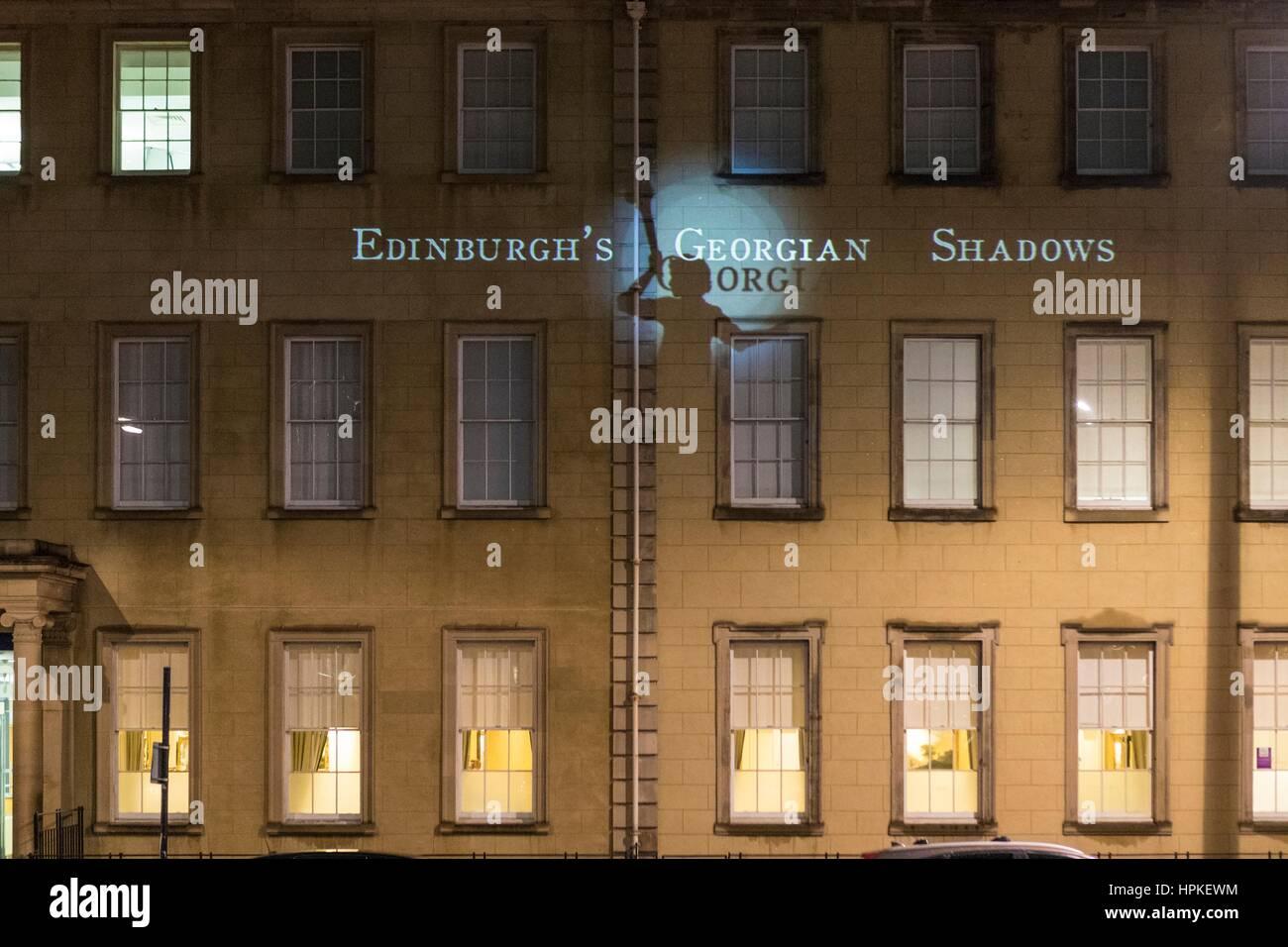 Edinburgh, Scotland, UK. 23rd February 2017. To celebrate the 250th anniversary of Edinburgh's New Town a lumiere - Stock Image