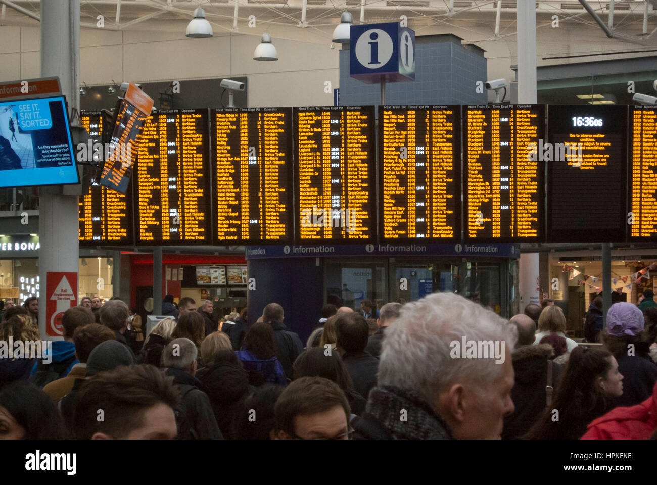 Manchester, UK. 23rd Feb, 2017. Storm Doris 'Weather bomb' causes severe delays on all trains from Manchester - Stock Image