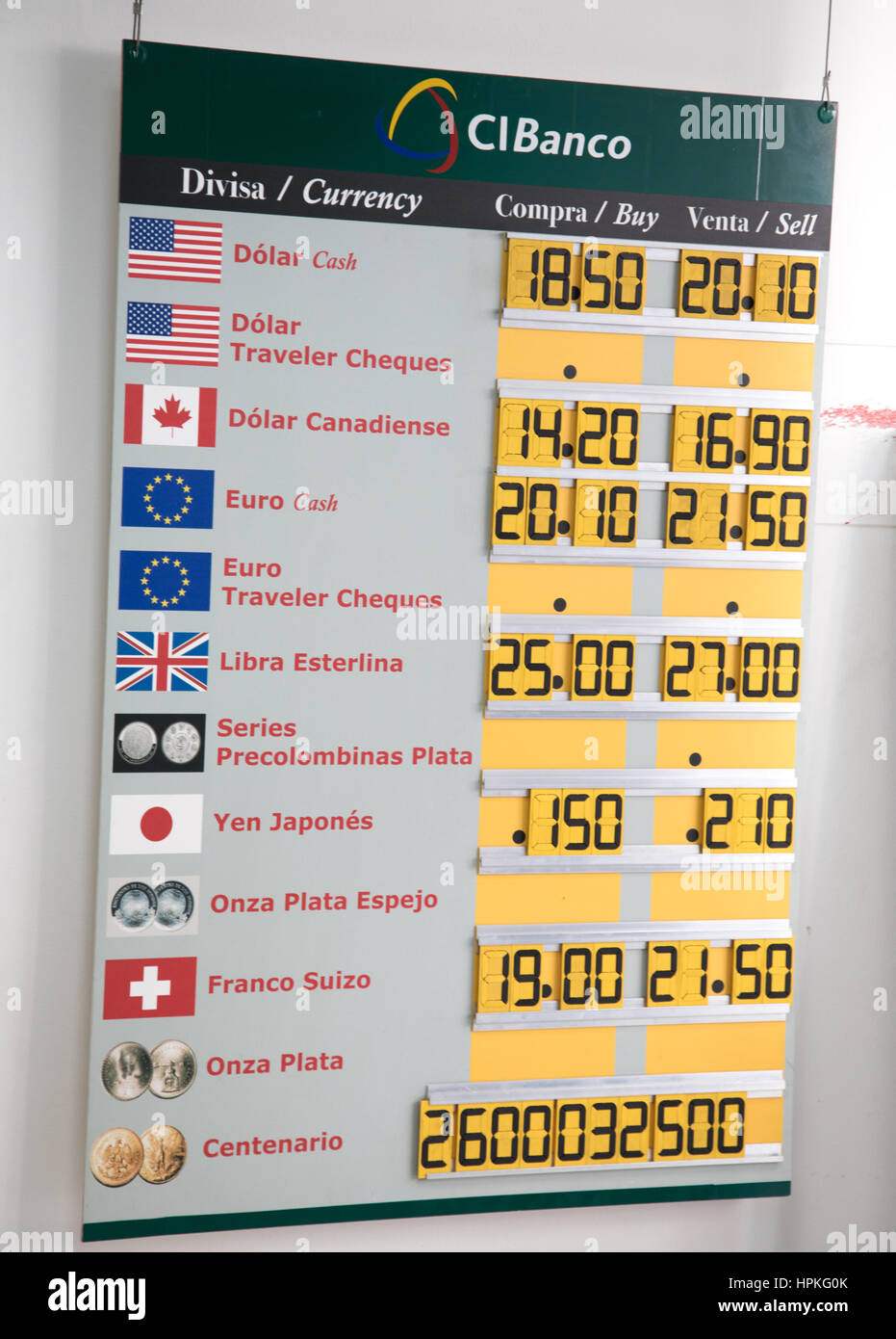 Mexico City, Mexico. 23rd Feb, 2017. Exchange rate board outside local money exchange shows weakness in current Stock Photo