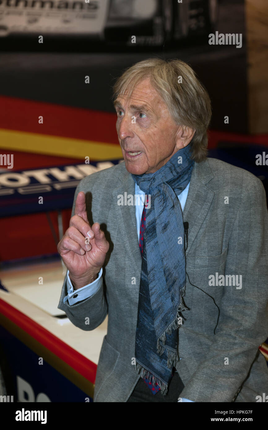 London, UK. 23rd Feb, 2017. Dereck Bell, at a photo call on the Ickx display stand. The London Classic Car Show. - Stock Image