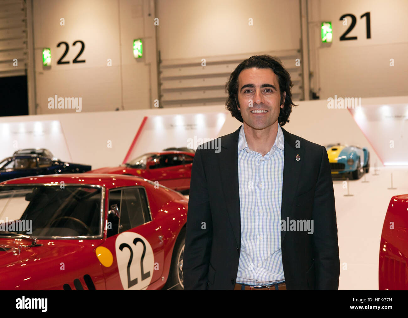 London, UK. 23rd Feb, 2017. Three time Indy 500 winner, Dario Franchitti, opens the Ferrari Tribute Collection. Stock Photo