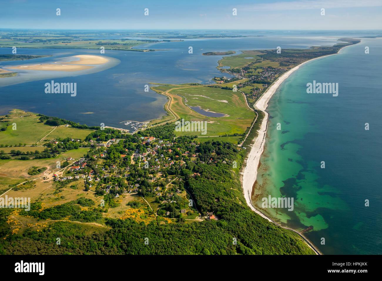 Bay and port of Vitte, beach, beach line, monastery, island Hiddensee, East seacoast, Western Pomerania, Mecklenburg - Stock Image