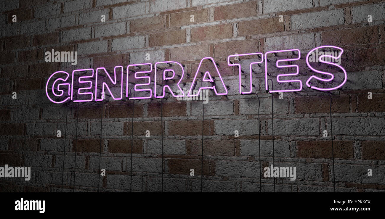GENERATES - Glowing Neon Sign on stonework wall - 3D rendered royalty free stock illustration.  Can be used for - Stock Image