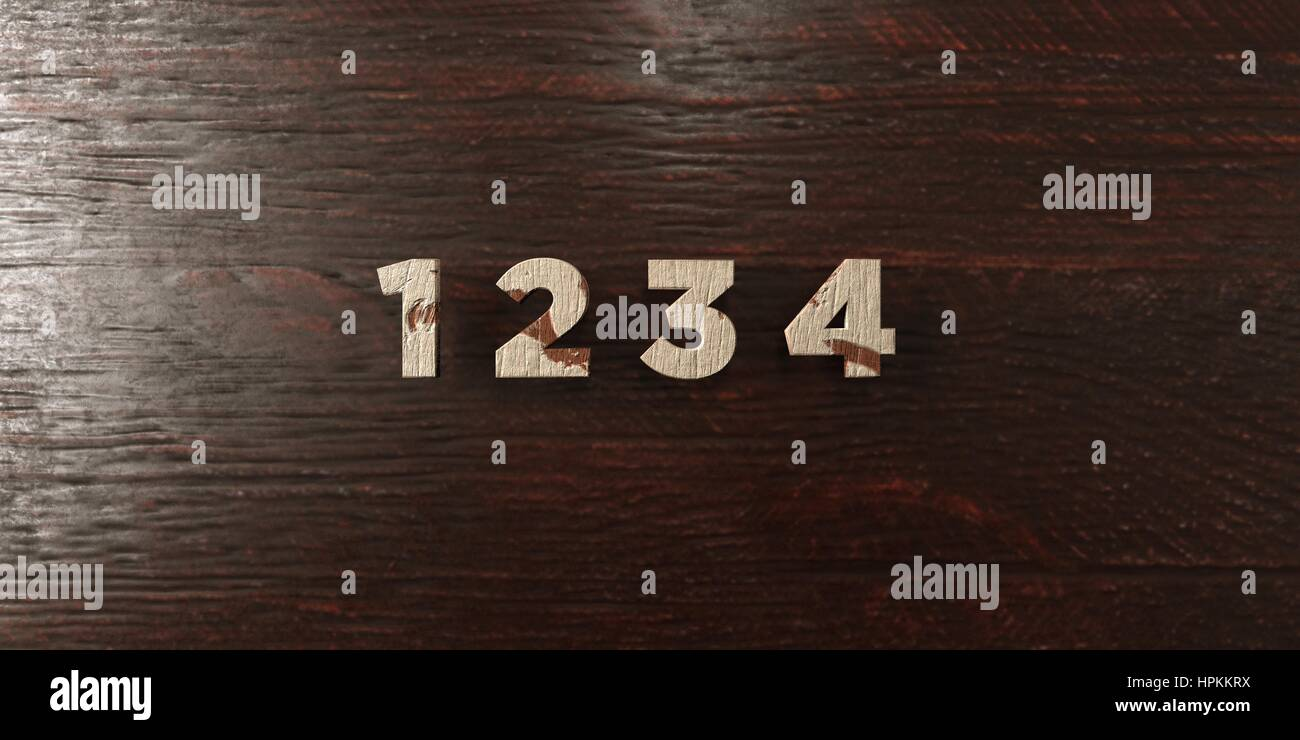 1 2 3 4 - grungy wooden headline on Maple  - 3D rendered royalty free stock image. This image can be used for an - Stock Image