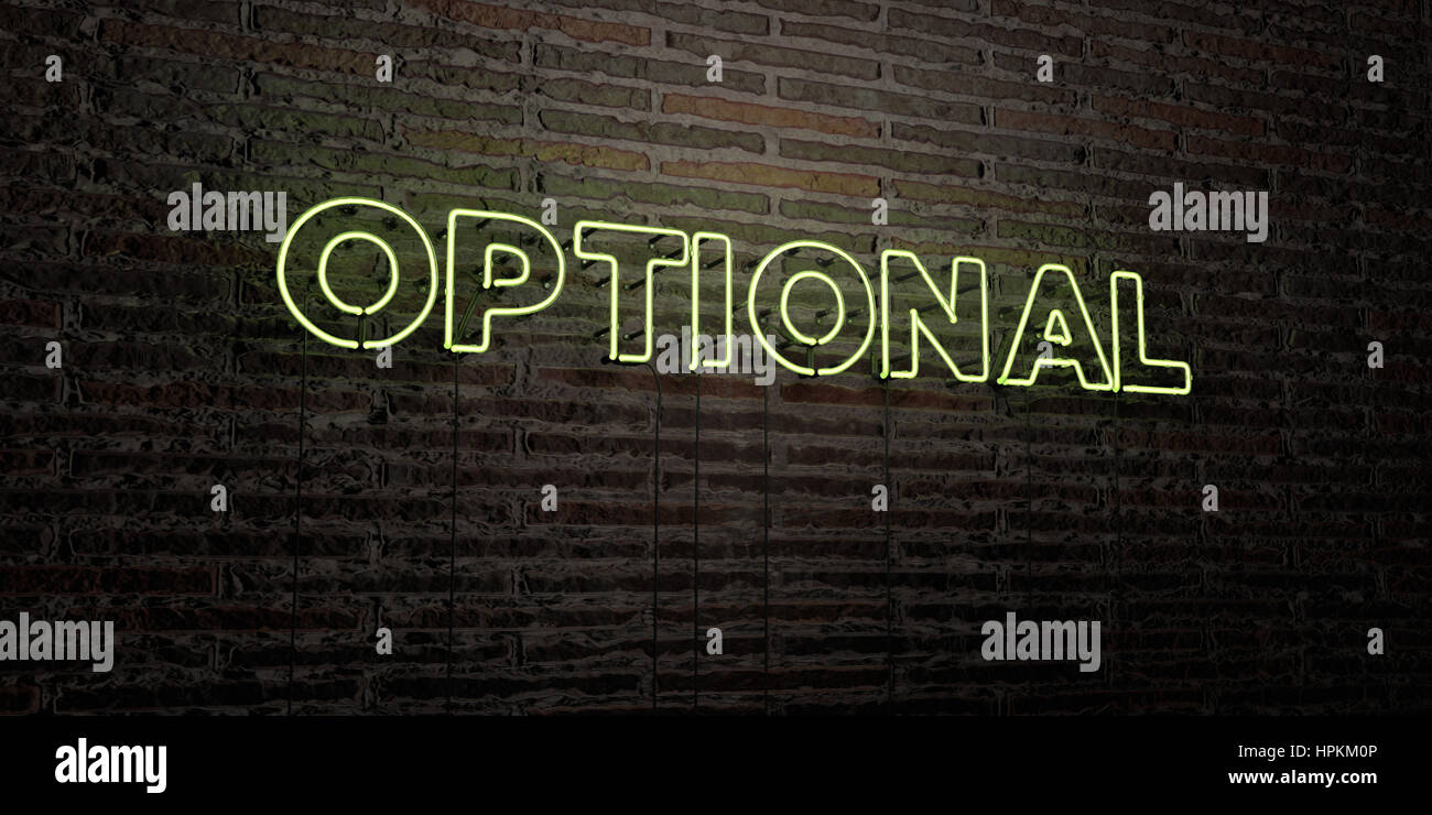 OPTIONAL -Realistic Neon Sign on Brick Wall background - 3D rendered royalty free stock image. Can be used for online - Stock Image