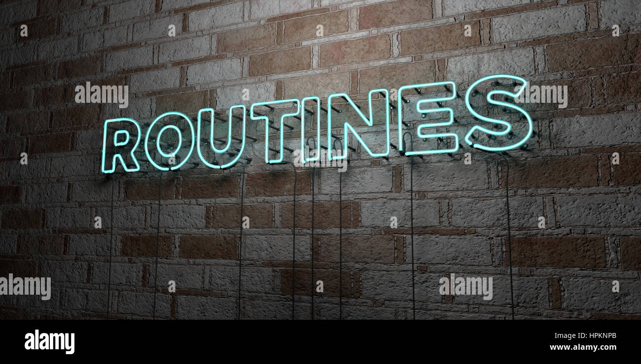 ROUTINES - Glowing Neon Sign on stonework wall - 3D rendered royalty free stock illustration.  Can be used for online - Stock Image