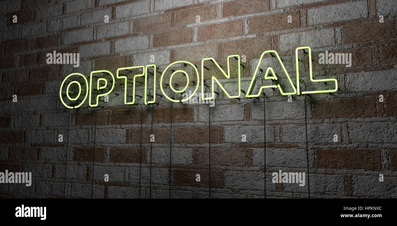 OPTIONAL - Glowing Neon Sign on stonework wall - 3D rendered royalty free stock illustration.  Can be used for online - Stock Image