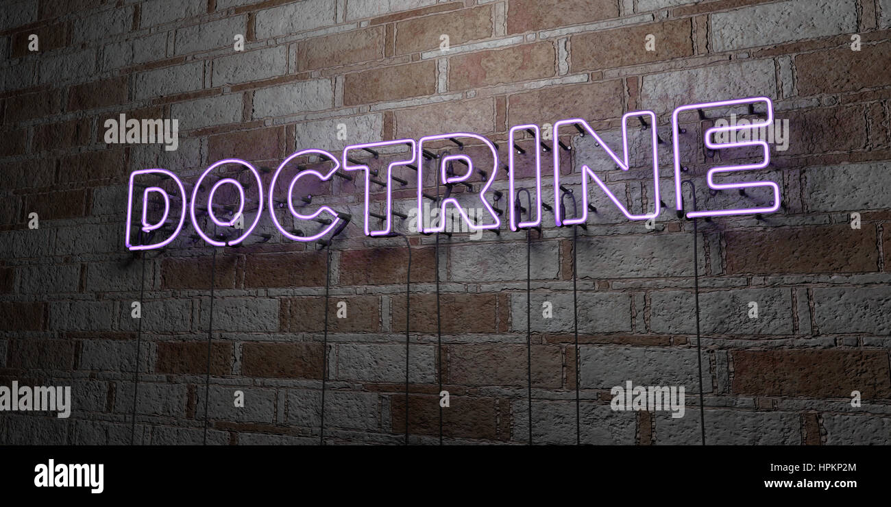 DOCTRINE - Glowing Neon Sign on stonework wall - 3D rendered royalty free stock illustration.  Can be used for online Stock Photo