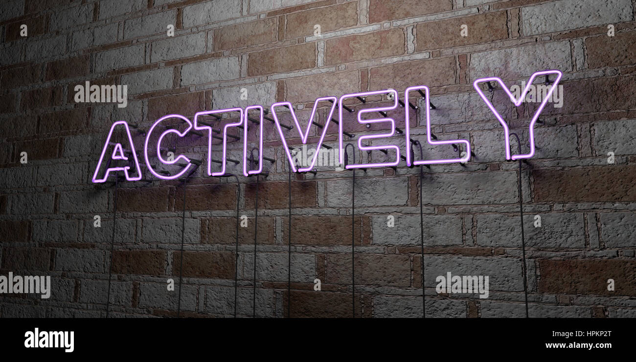 ACTIVELY - Glowing Neon Sign on stonework wall - 3D rendered royalty free stock illustration.  Can be used for online - Stock Image