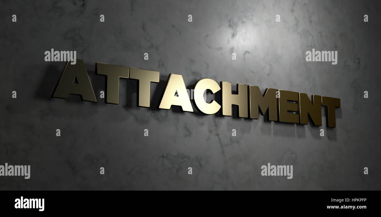 Attachment - Gold text on black background - 3D rendered royalty free stock picture. This image can be used for - Stock Image