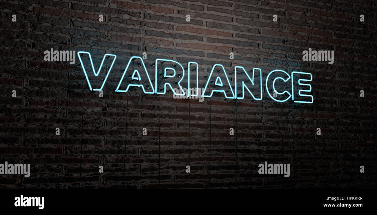 VARIANCE -Realistic Neon Sign on Brick Wall background - 3D rendered royalty free stock image. Can be used for online - Stock Image