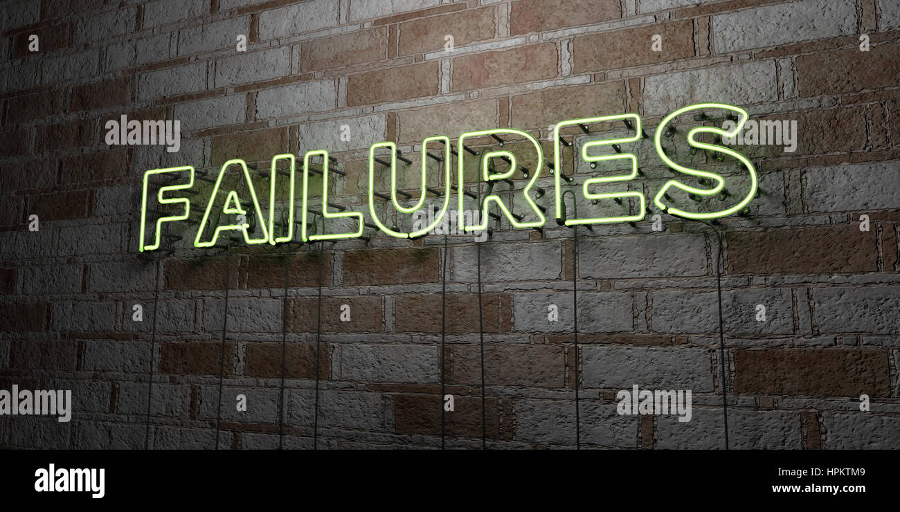 FAILURES - Glowing Neon Sign on stonework wall - 3D rendered royalty free stock illustration.  Can be used for online - Stock Image