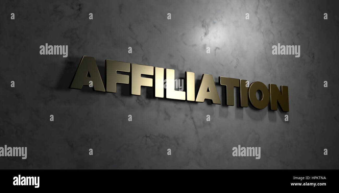Affiliation - Gold text on black background - 3D rendered royalty free stock picture. This image can be used for - Stock Image