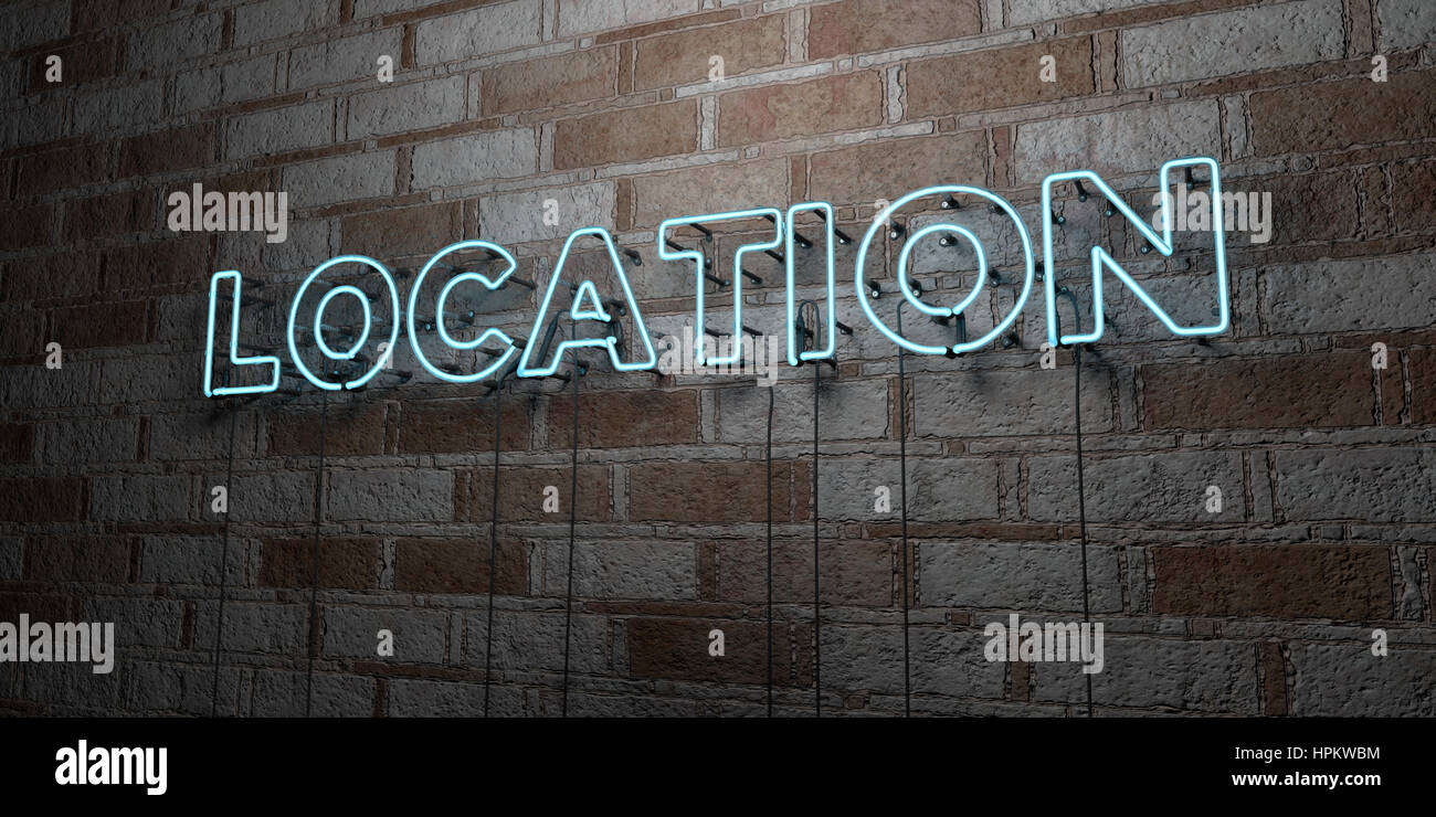LOCATION - Glowing Neon Sign on stonework wall - 3D rendered royalty free stock illustration.  Can be used for online - Stock Image
