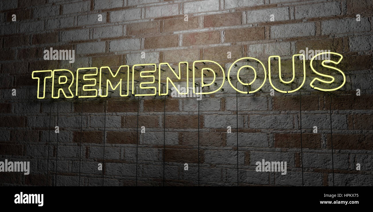 TREMENDOUS - Glowing Neon Sign on stonework wall - 3D rendered royalty free stock illustration.  Can be used for Stock Photo