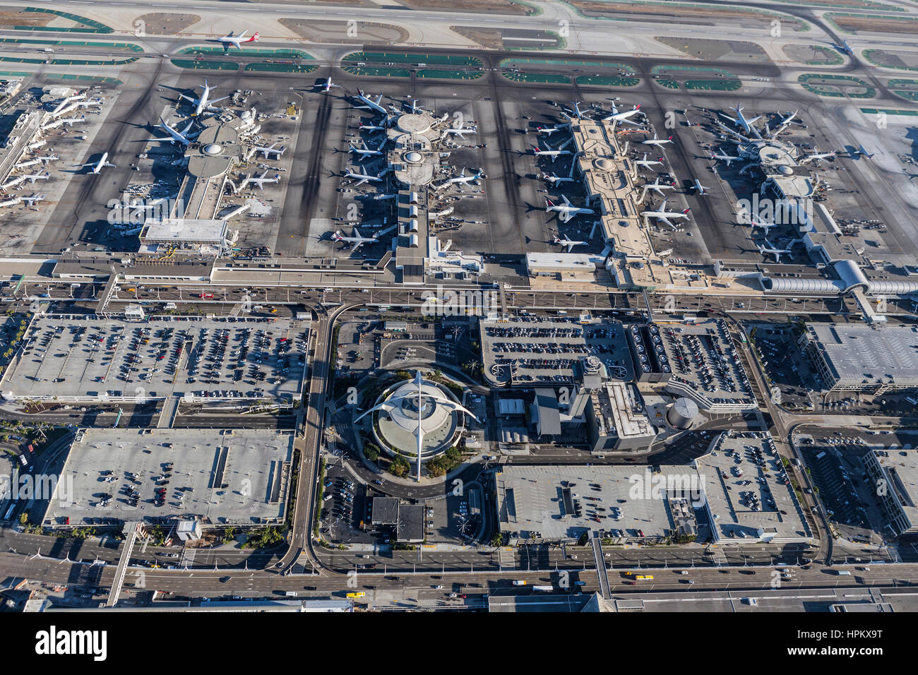 Los Angeles, California, USA - August 16, 2016:  Aerial view of terminals and parking garages at LAX. - Stock Image