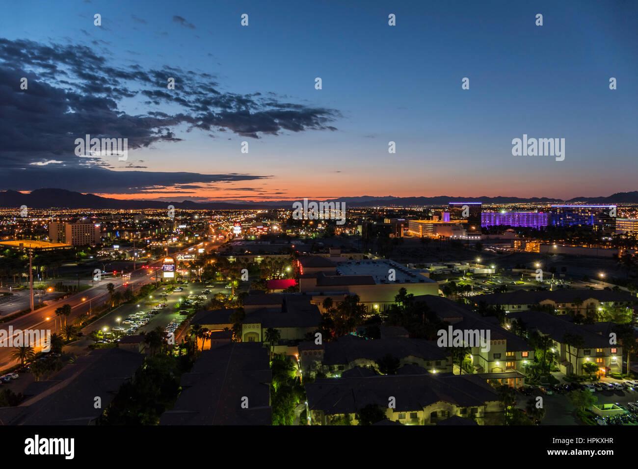Las Vegas, Nevada, USA - May 10, 2016:  Predawn glow on Flamingo Road east of the Las Vegas strip. Stock Photo