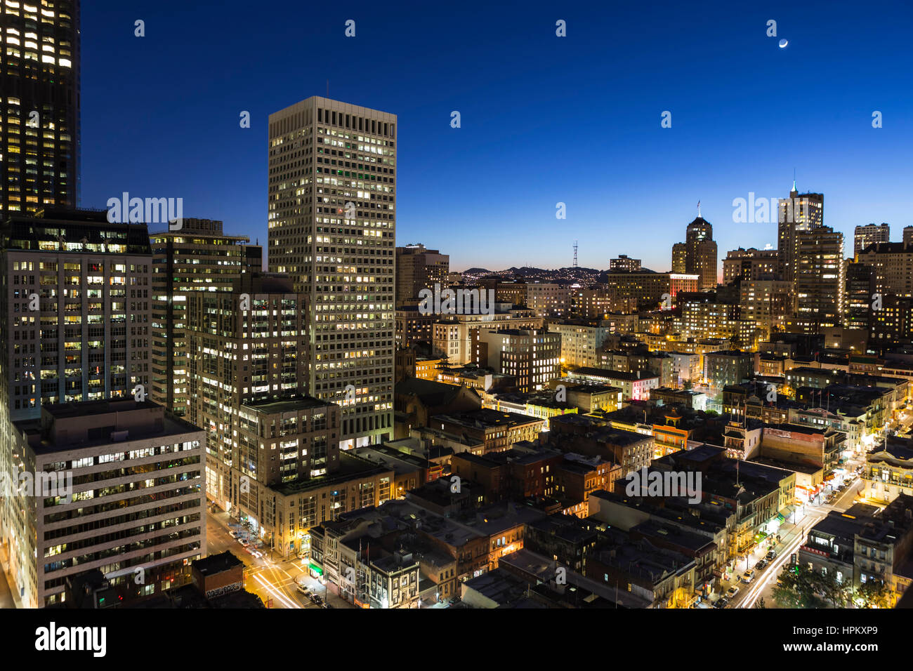 Editorial dusk view of Nob Hill and Chinatown in San Francisco, California. Stock Photo