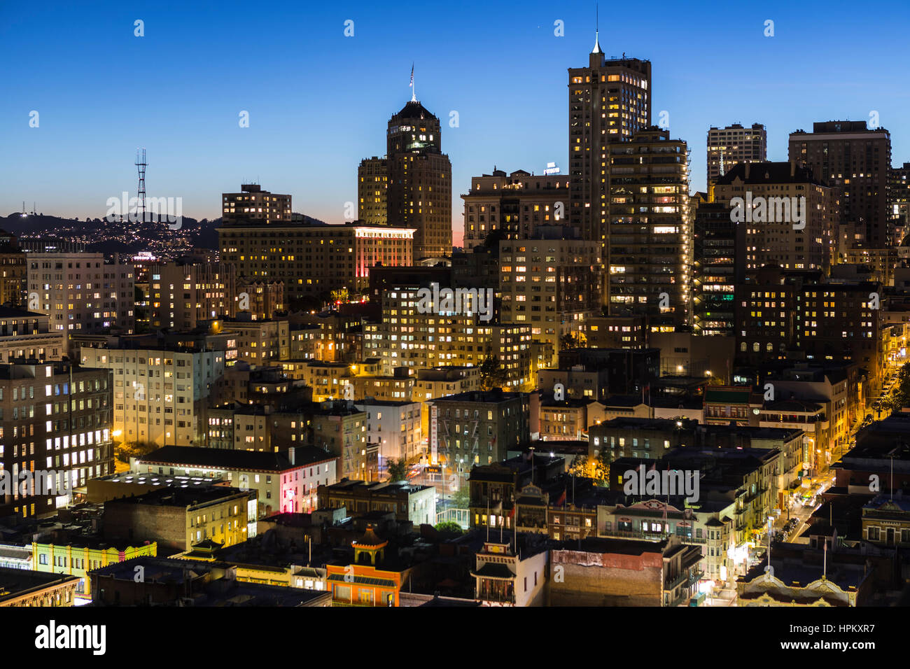 San Francisco, California, USA - January, 13, 2013:  Editorial dusk view of Chinatown and Nob Hill in downtown San Stock Photo