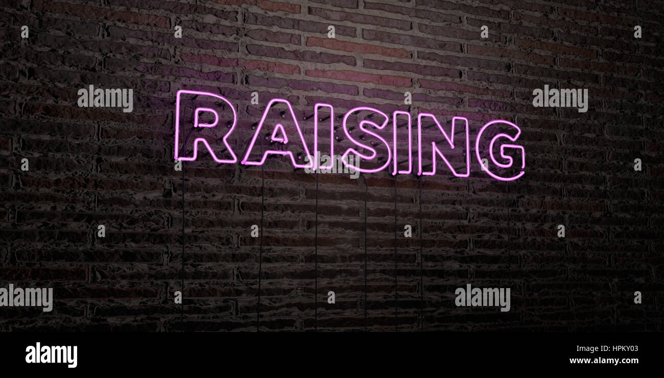 RAISING -Realistic Neon Sign on Brick Wall background - 3D rendered royalty free stock image. Can be used for online - Stock Image