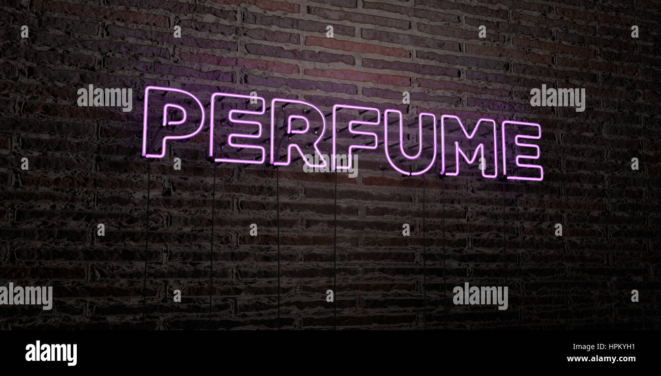 PERFUME -Realistic Neon Sign on Brick Wall background - 3D rendered royalty free stock image. Can be used for online - Stock Image