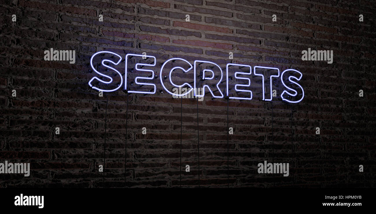 SECRETS -Realistic Neon Sign on Brick Wall background - 3D rendered royalty free stock image. Can be used for online - Stock Image