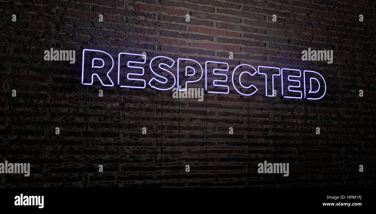 RESPECTED -Realistic Neon Sign on Brick Wall background - 3D rendered royalty free stock image. Can be used for - Stock Image