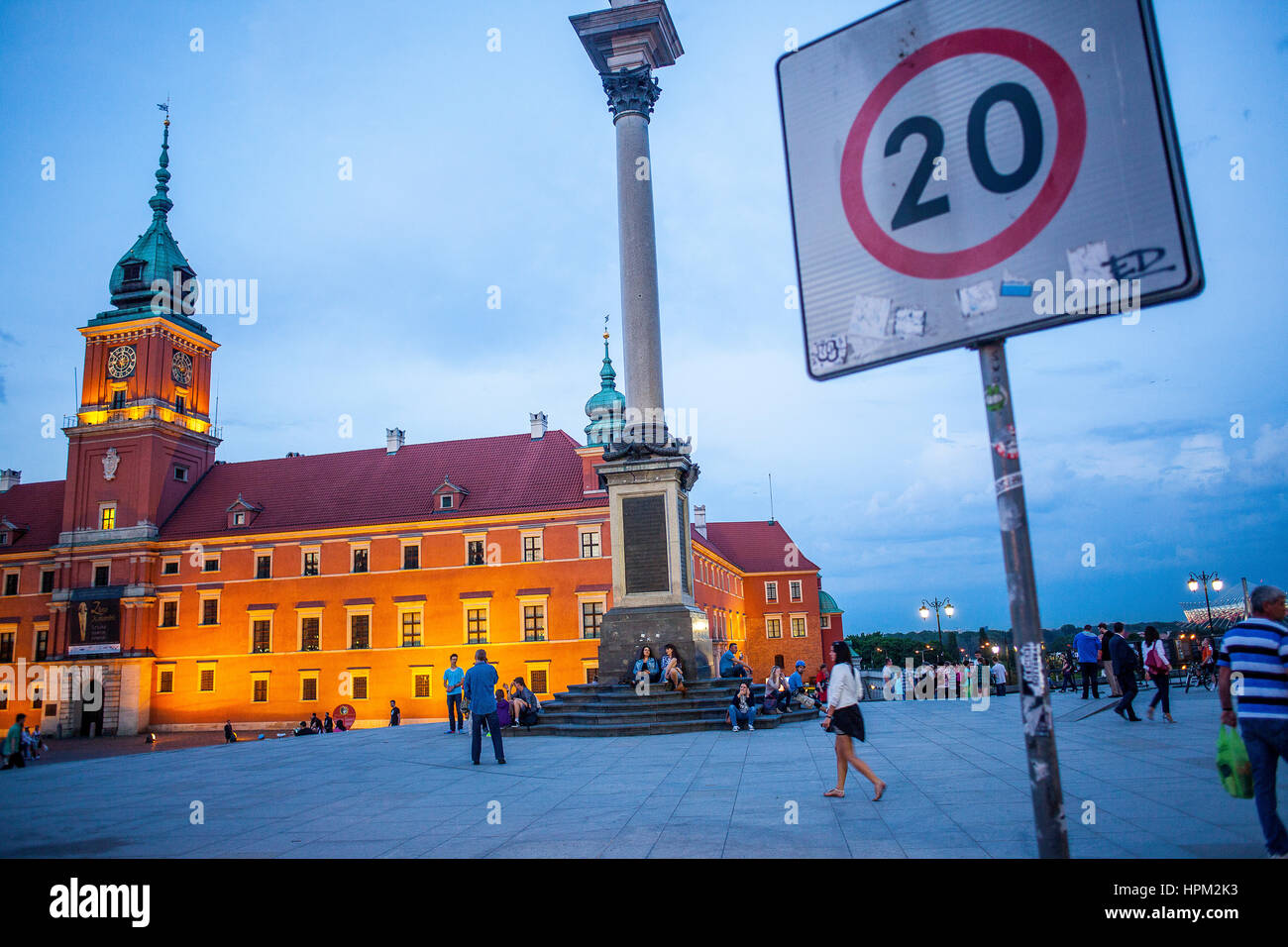 Plac Zamkowy square, The Royal Castle and Zygmunt column, Warsaw, Poland - Stock Image