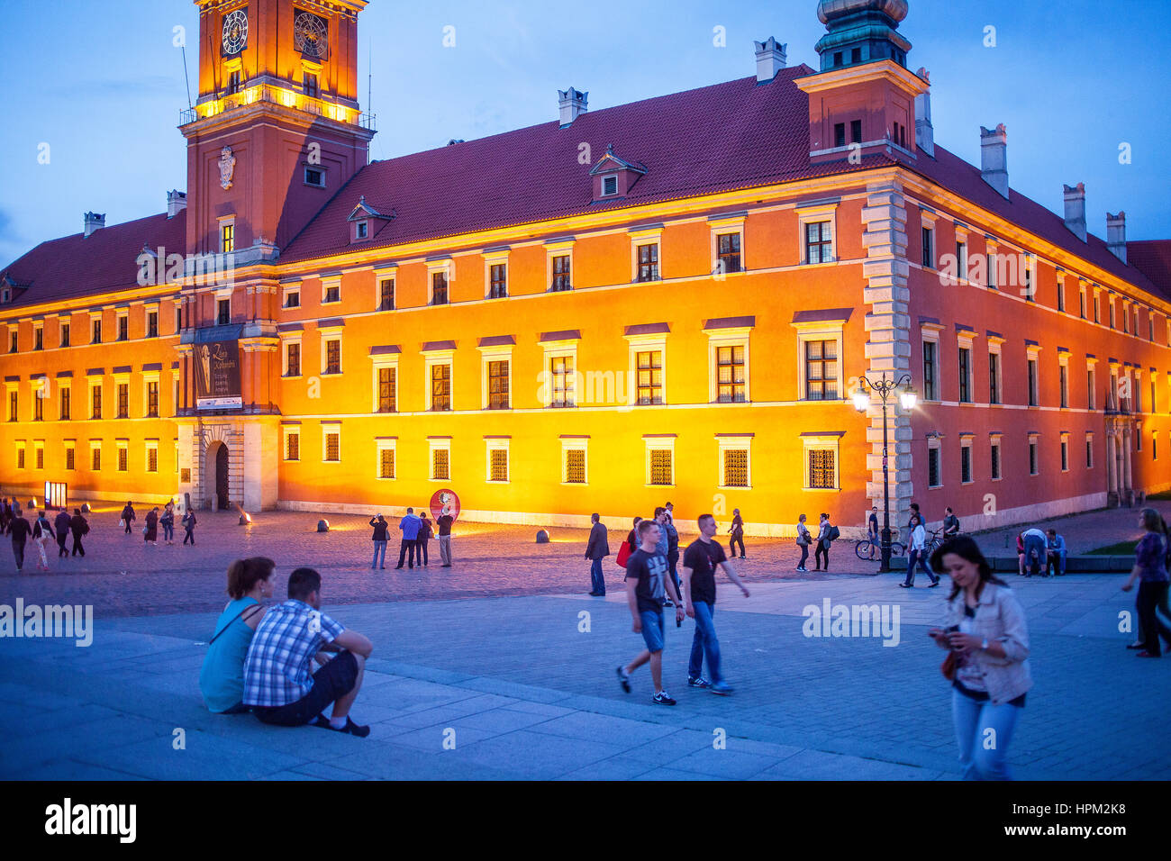 Plac Zamkowy square and The Royal Castle, Warsaw, Poland - Stock Image