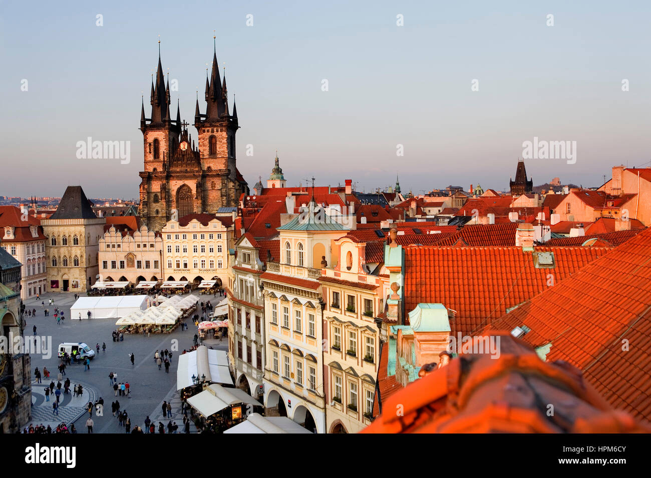 The Old town square with  the Tyn church. At right housetops and  Powder tower.Prague. Czech Republic - Stock Image