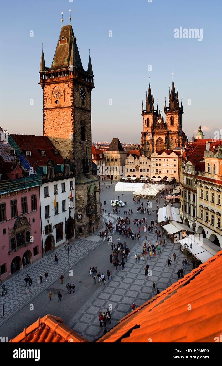 The Old town square with Old Town Councilhouse and the Tyn church .Prague. Czech Republic - Stock Image