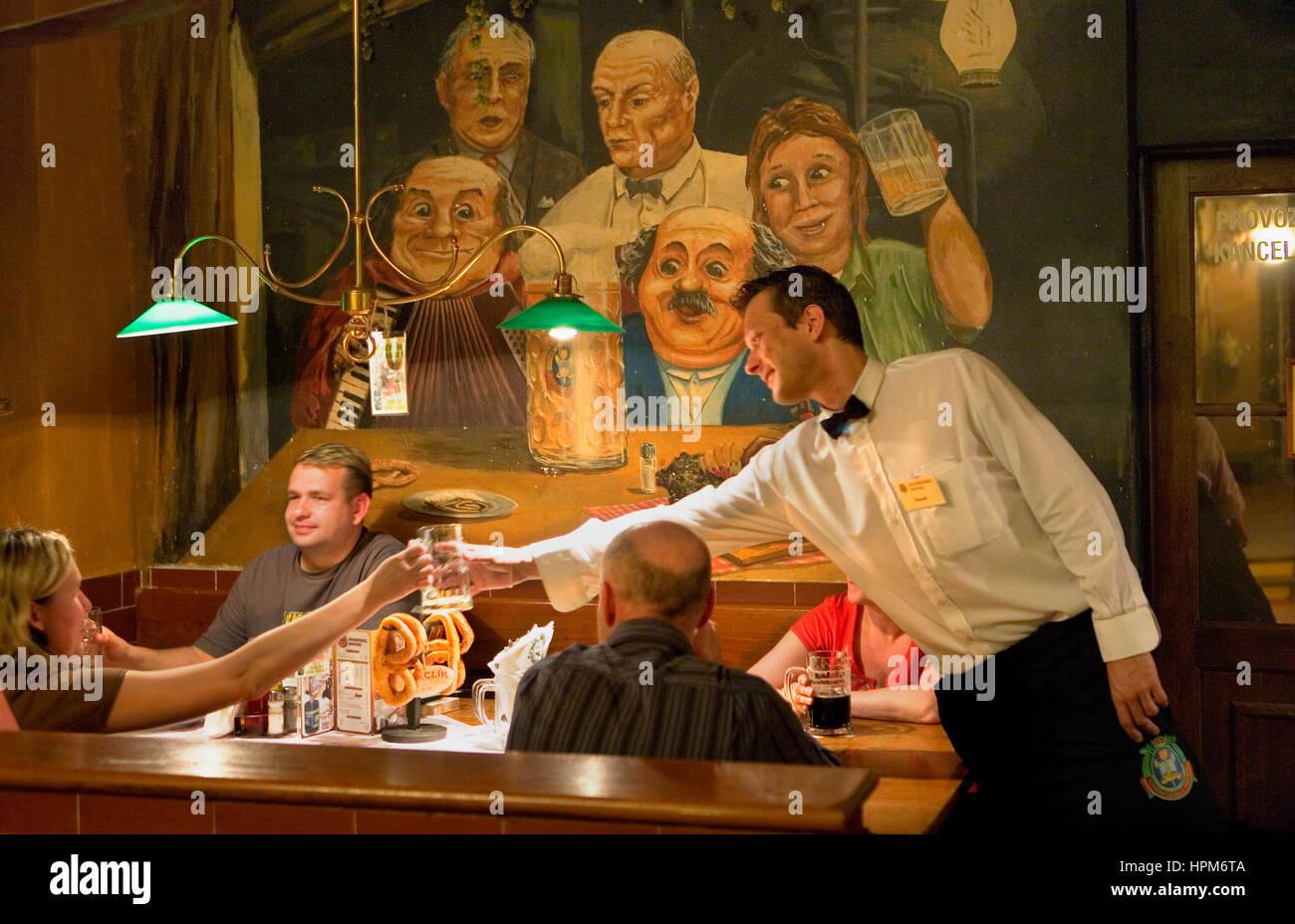Pivovar. Brewery restaurant.20, Vodickova street.Prague. Czech Republic - Stock Image