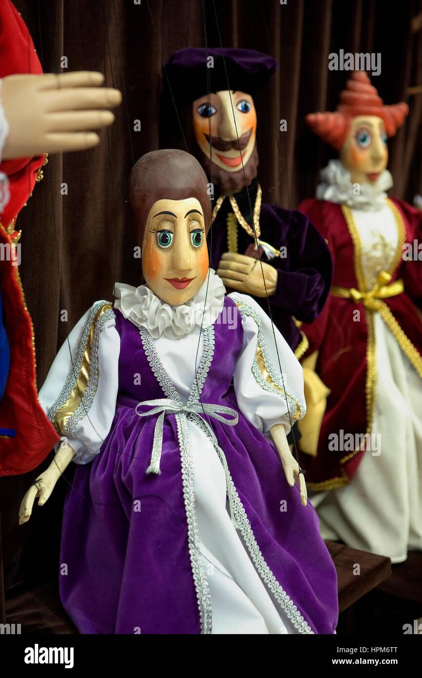 Puppets. Obchod loutkami .  Nerudova 47.Prague. Czech Republic - Stock Image