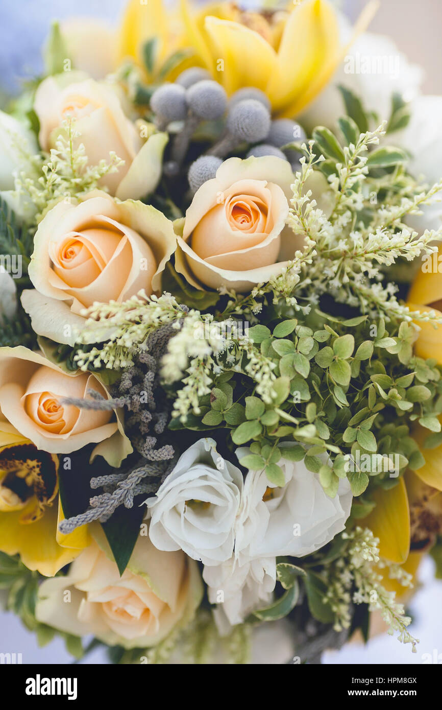 Mazzo Di Fiori Belli.Beautiful Wedding Bouquet From Spring Flowers Close Up Flower