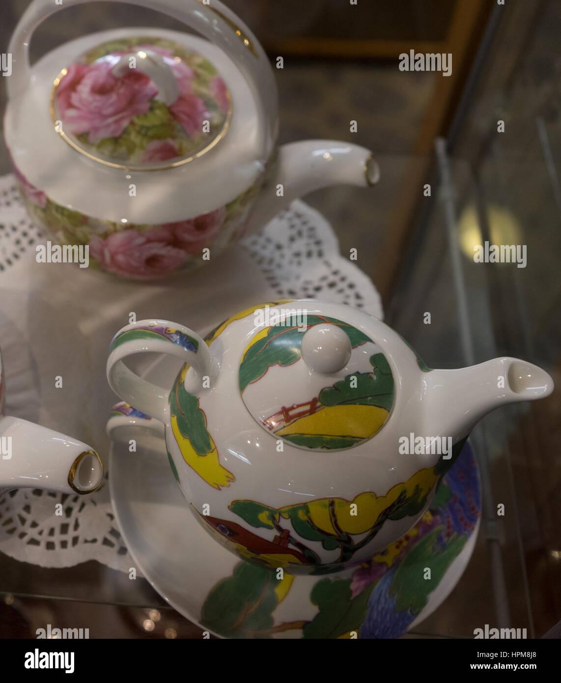 two decorative teapots - Stock Image