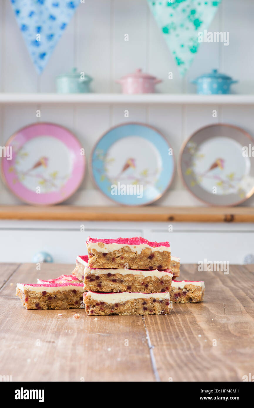 Raspberry White Chocolate Tray Bakes - Stock Image