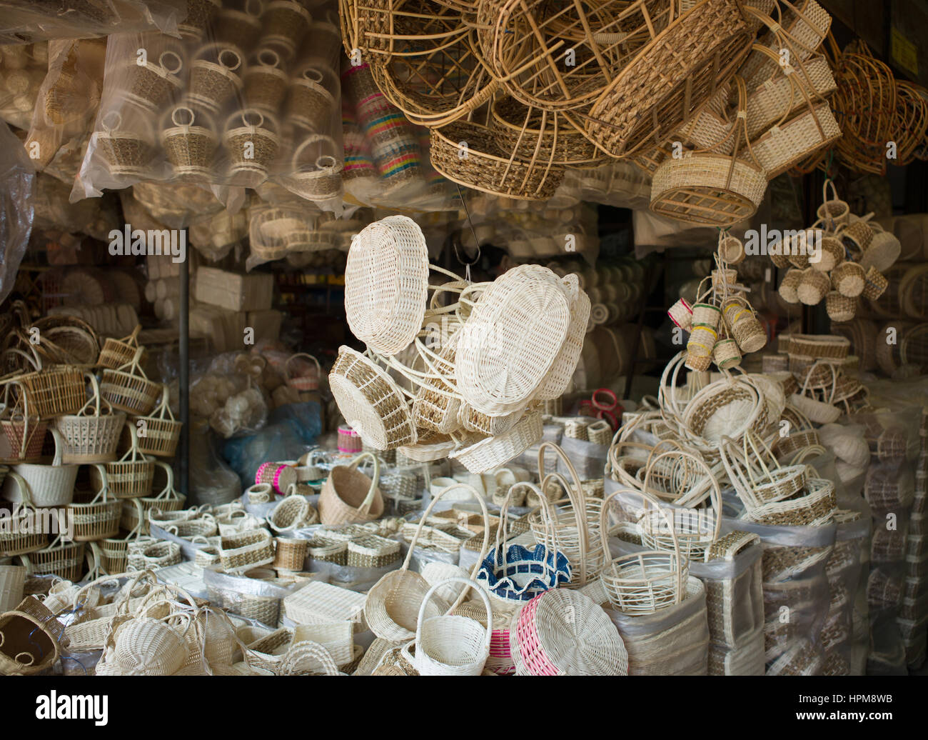 Baskets for sale in Chatuchak market, Bangkok - Stock Image