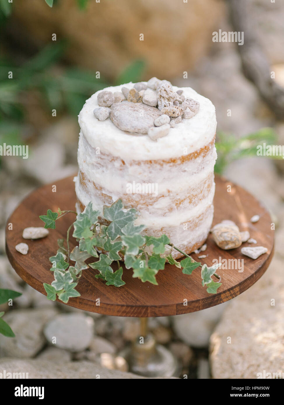 naced cake whith white cream on a wooden substrate decorated with decorative stones and greens against the nature - Stock Image