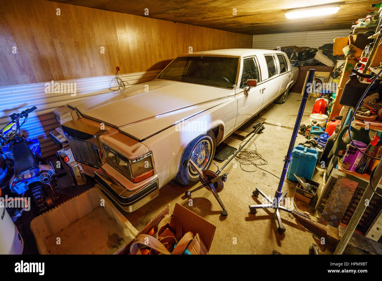 Cadillac in a workshop, Eastern Iceland - Stock Image