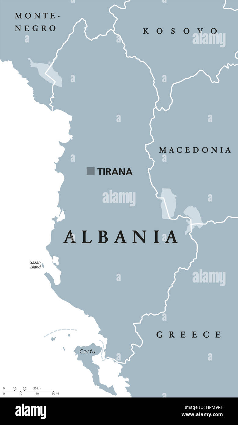 Albania political map with capital Tirana national borders and