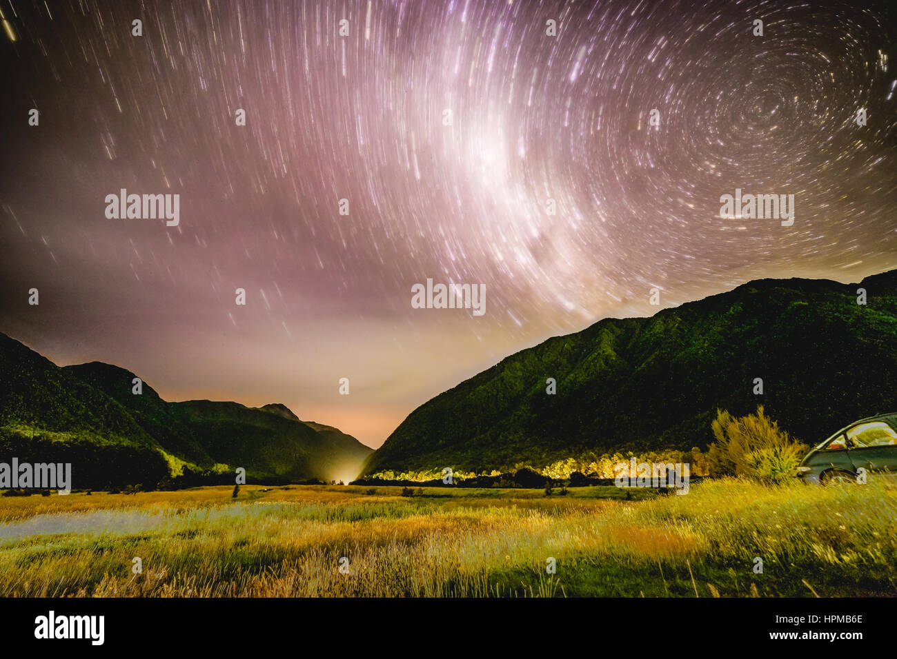 Star trail in the mountains, NZ - Stock Image