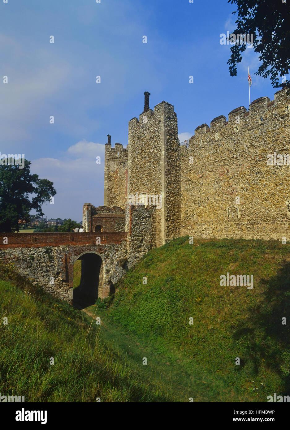 The entrance and moat at Framlingham Castle. Suffolk. England. UK - Stock Image