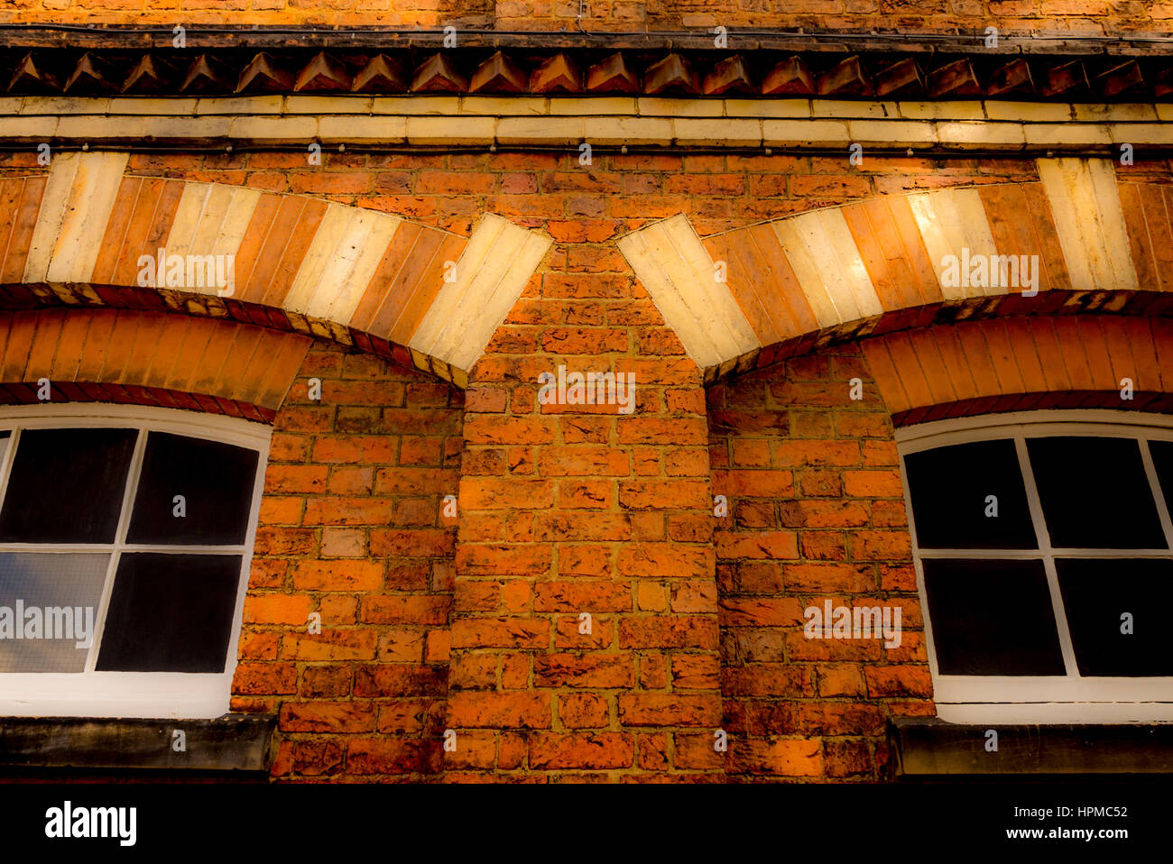 Architectural detail in brickwork on Clock Tower building, Easingwold, Yorkshire, UK. - Stock Image