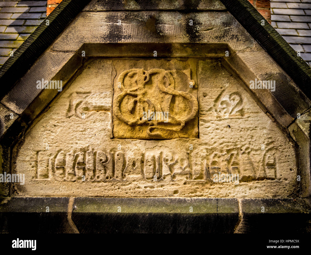 Architectural detail in brickwork on Library building, Easingwold, Yorkshire, UK. - Stock Image