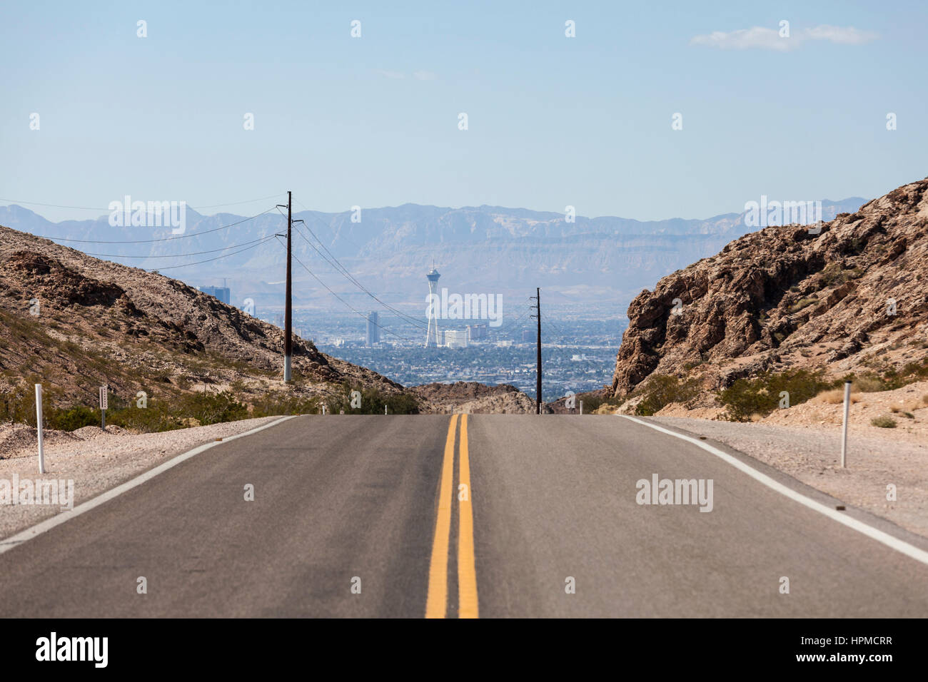 Desert road to the Stratosphere resort and the Las Vegas strip. - Stock Image