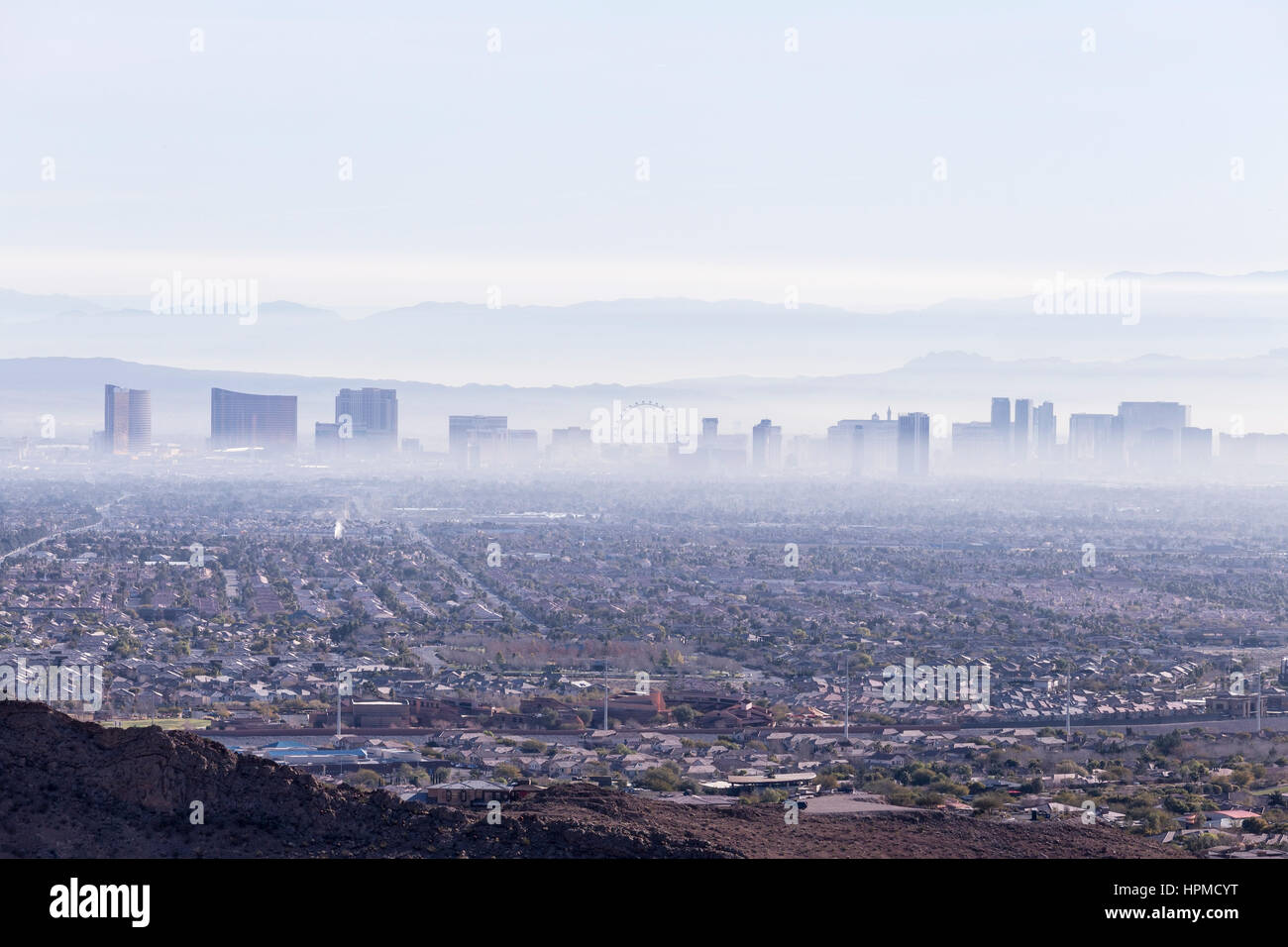 Las Vegas, Nevada, USA - February 4, 2015:  Las Vegas valley haze and smog. Stock Photo